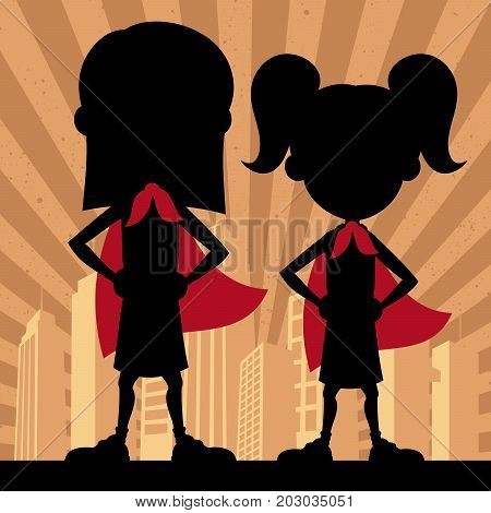 Square banner of 2 super girls with red capes.