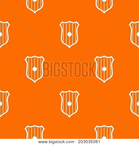 Protective shield pattern repeat seamless in orange color for any design. Vector geometric illustration