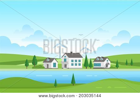 Housing estate with windmills by the river - modern vector illustration. Landscape with trees, small cute low storey suburban houses, blue sky with clouds. Concept of nice building complex