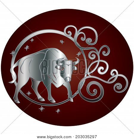 Taurus zodiac sign in circle frame. Vector zodiac icon. Vector illustration