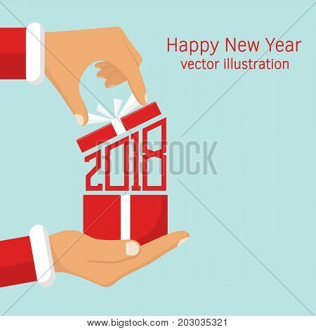 2018. Numbers red. Vector illustration flat design. Isolated on white background. Gift from Santa Claus. Santa Claus holding red gift box in hand, shows open gift. Merry Christmas.