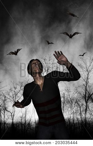 3d illustration of a man lost in the woods on Halloween day,Horror fiction for book cover ideas