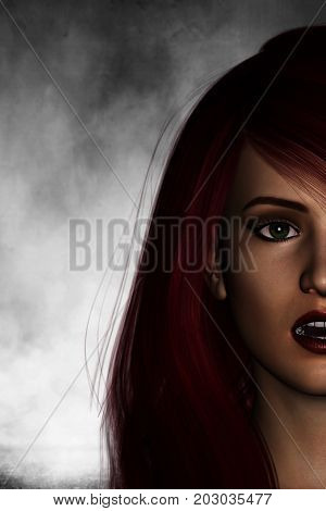 3d illustration of woman portrait being afraid of scary thing from behind