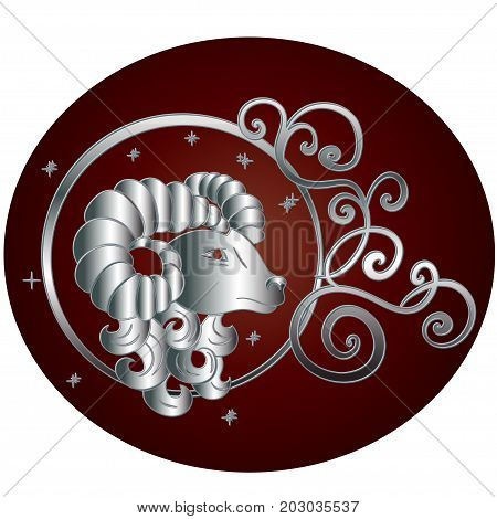 Aries zodiac sign in circle frame.Vector zodiac icon. Vector illustration