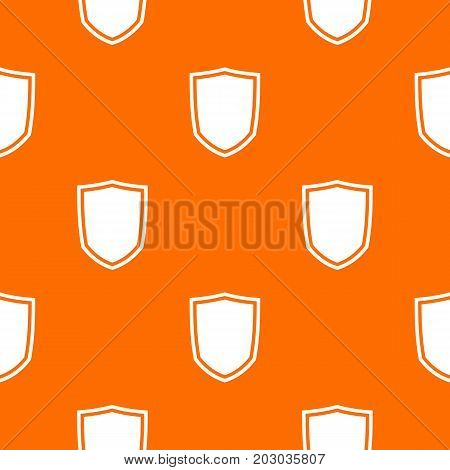 Military shield pattern repeat seamless in orange color for any design. Vector geometric illustration
