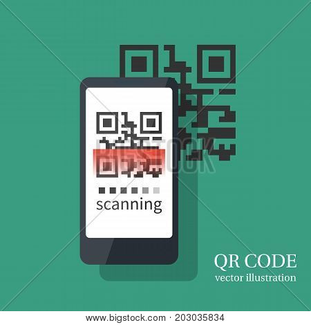 Scanning QR code on smartphone. Modern digital technology. Scanning with card quick code. Mobile phone isolated on background.. Vector illustration flat design.