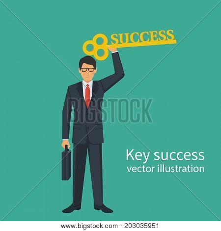 Businessman in suit with briefcase holds in hand big key to success. Perspective development opportunities. Goals achievement, metaphor. Big opportunities. Vector flat design. Isolated on background.