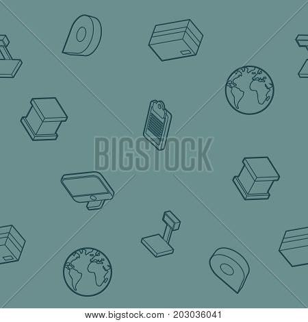 Logistics outline isometric pattern. Vector illustration, EPS 10