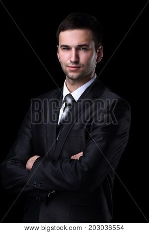 Closeup portrait of a confident handsome business man