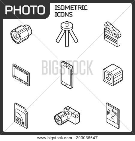 Photo outline isometric icons. Vector illustration, EPS 10