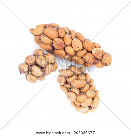 Kopi Luwak Or Civet Coffee, Coffee Beans Excreted By The Civet Isolated On White Background