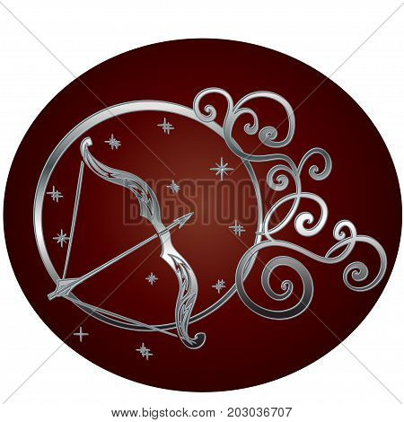 Sagittarius zodiac sign in circle frame, vector Illustration. Contour icon.