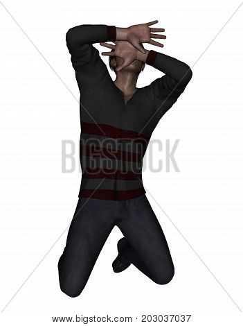 3d rendering of a man using his hand to hide his face from something scaryor protecting from being attacked
