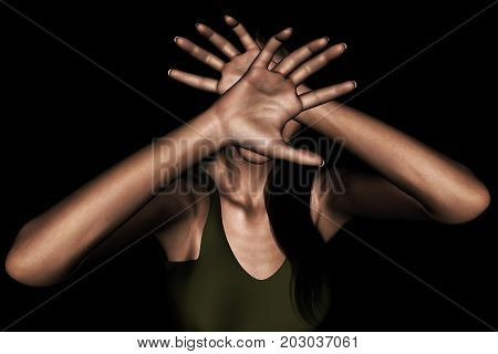 3d rendering of a woman using her hand to hide her face from something scaryor protecting from being attacked