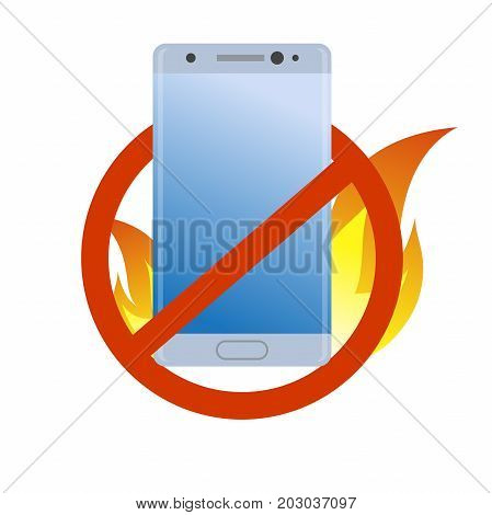 Forbidden modern smartphone under fire icon. Burn battery cell phone. Bad quality. Danger device simple gradient symbol.