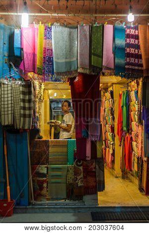 KATHMANDU NEPAL - 9/23/2015: A scarf shop in the Thamel district of Kathmandu Nepal.