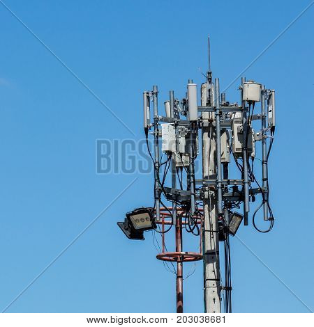 Tele communication tower with the blue sky