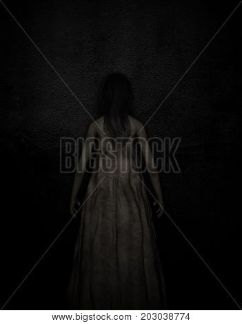 3d illustration of scary ghost woman in the darkHorror backgroundmixed media