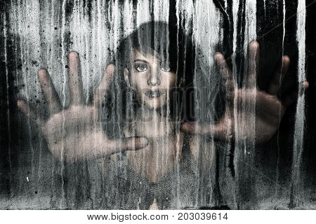 3d illustration of woman behind grunge background,Horror background,mixed media