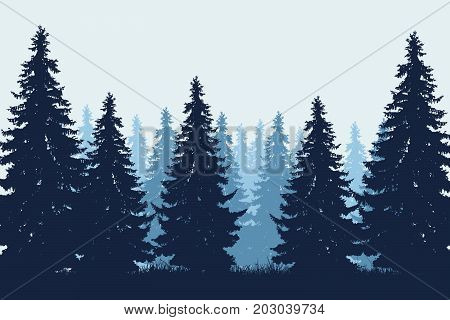 Vector realistic illustration of coniferous forest with grass under winter blue sky with mist