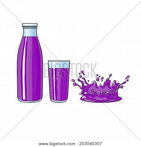 Vector cartoon glass bottle and cup of purple fresh fruit juice, juice drop splash set. Isolated illustration on a white background. Soft drink, refreshing beverage image.