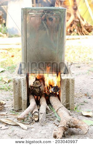 Outdoor Wood Campfire Burring Brightly At Forest With Sparks, Yellow Fire Outdoor In The Forest For