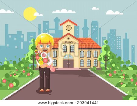 Stock vector illustration cartoon character child lonely boy blonde schoolboy, pupil, student standing with bouquet flowers in front of building knowledge day start study back to school flat style