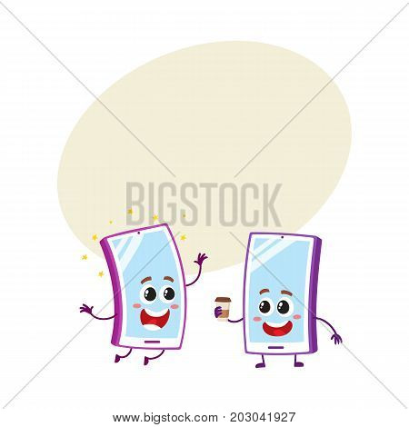 Two cartoon mobile phone characters, one arms up, another holding paper coffee cup, vector illustration with space for text. Two cartoon mobile phone, smartphone characters