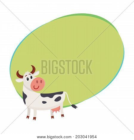 Funny black white spotted cow standing and looking back, cartoon vector illustration with space for text. Funny cow character with head turned back, dairy, farm concept