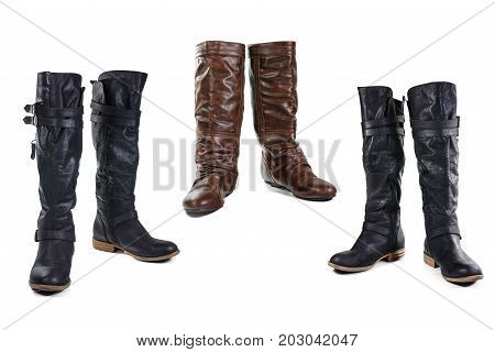 Boot Group of Leather boots isolated on white background with clipping path.