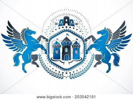 Vintage emblem created in vector heraldic design and composed using graceful mythic Pegasus and ancient tower.
