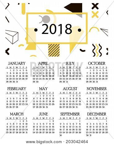 Simple calendar for 2018 and 2019, 2020 years template date day design month business organizer planner vector illustration. Calender annual schedule diary.