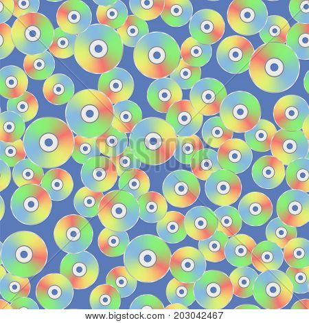 Colorful Plastic Compact Disc Seamless Pattern Isolated on Blue Background