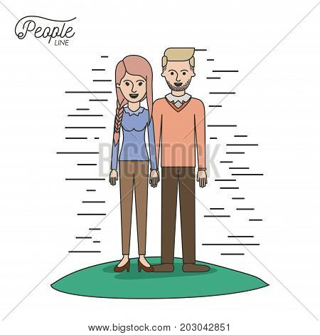 caricature couple people line woman with braided pigtails hair and bearded man standing casual clothes in grass on white background vector illustration