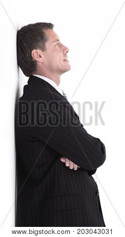 Portrait of happy business man posing with copy space