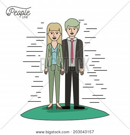 caricature couple people line man and woman with straight hair standing formal clothes in grass on white background vector illustration