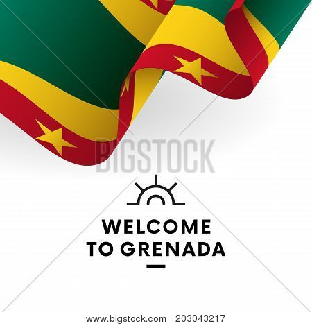 Welcome to Grenada. Grenada flag. Patriotic design. Vector illustration.