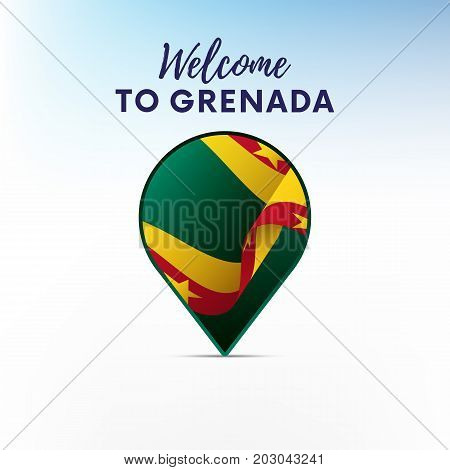 Flag of Grenada in shape of map pointer or marker. Welcome to Grenada. Vector illustration.