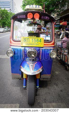 A Tuk Tuk On Street In Bangkok, Thailand