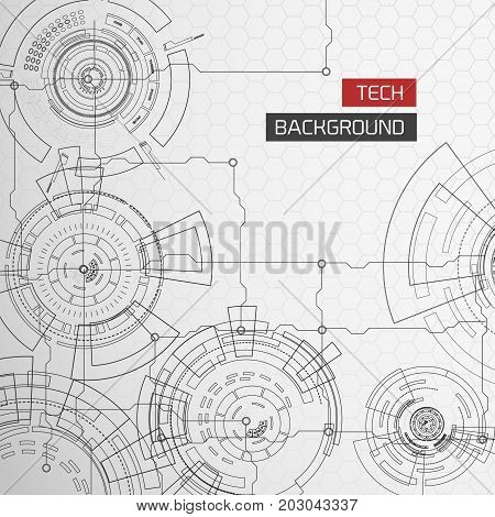Background with detailed images of modern tech futuristic circles with lines and segments circuit with title text vector illustration