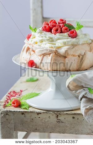 Sweet And Creamy Pavlova Dessert Made Of Mascarpone And Berries
