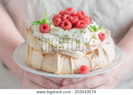 Delicious And Crispy Pavlova Dessert Made Of Mascarpone And Berries