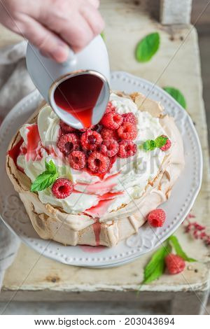 Delicious And Crispy Pavlova Cake Made Of Mascarpone And Berries