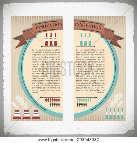 Industrial innovation banners with smokestacks people icons and design elements on glossy striped background isolated vector illustration