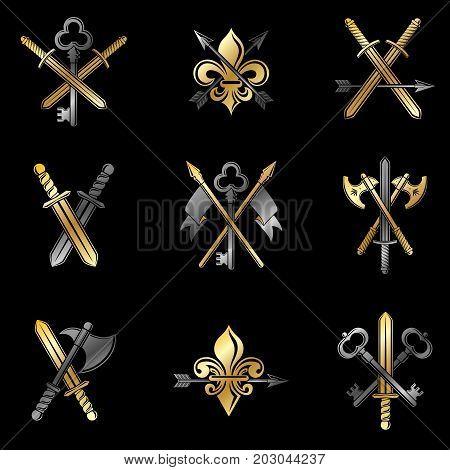 Vintage Weapon Emblems set. Heraldic signs vector vintage elements collection.