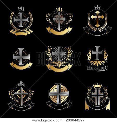 Crosses of Christianity emblems set. Heraldic vector design elements collection. Retro style label heraldry logo.