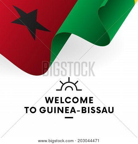 Welcome to Guinea-Bissau. Guinea-Bissau flag. Patriotic design. Vector illustration.