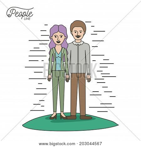caricature couple people line woman with wavy long hair standing formal clothes and man with moustache in grass on white background vector illustration