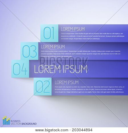 Preference business infographics with lilac horizontal numbered paper stripes on light background vector illustration