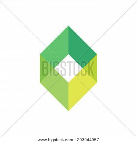 Green empty box logo template. Simple geometric shape logotype for business or logistic company. Vector illustration.